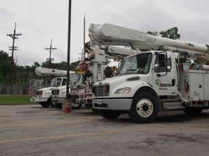 Ameren utility trucks near Aldi in Ferguson.
