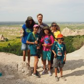 Family photo after hiking the Notch Trail at Badlands National Park