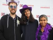 Jadzia with Papá and Mamá at the Marfan Foundation Walk for Victory
