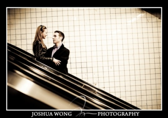 Subway escalator engagement photos