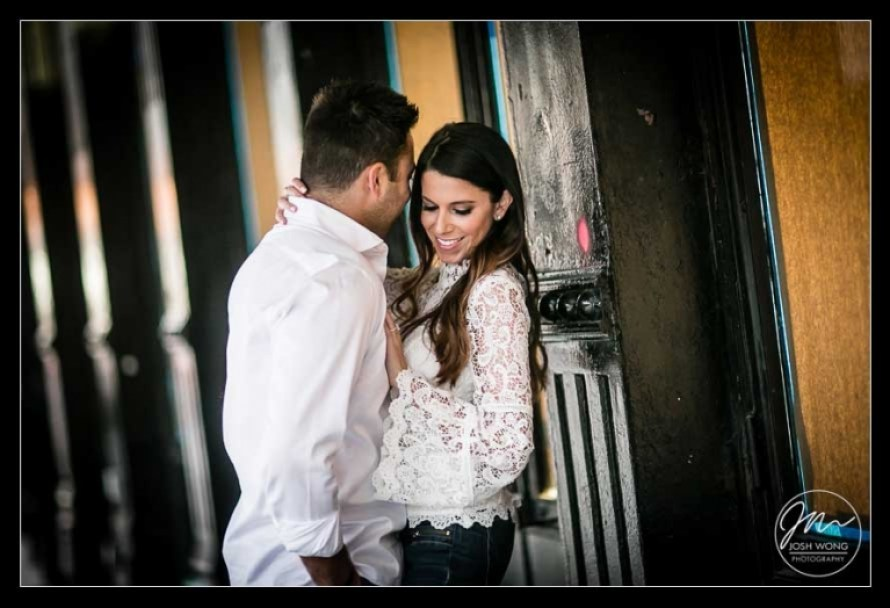 In the streets of the Meat Packing District in New York City. Engagement pictures by NYC engagement photographer Josh Wong Photography