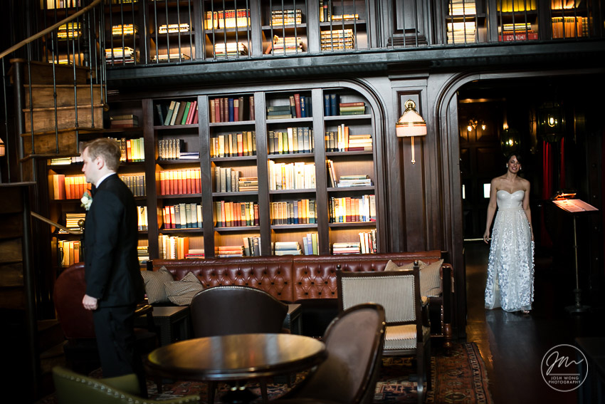 The library room at the NoMad Hotel. The first look.The NoMad Hotel New York wedding pictures by Josh Wong Photography