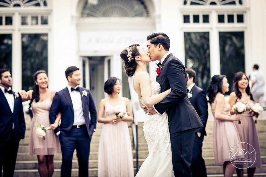 The Vanity Fair style bridal party photoshoot. New York Botanical Garden Wedding Pictures by NYC Wedding Photographer Josh Wong Photography
