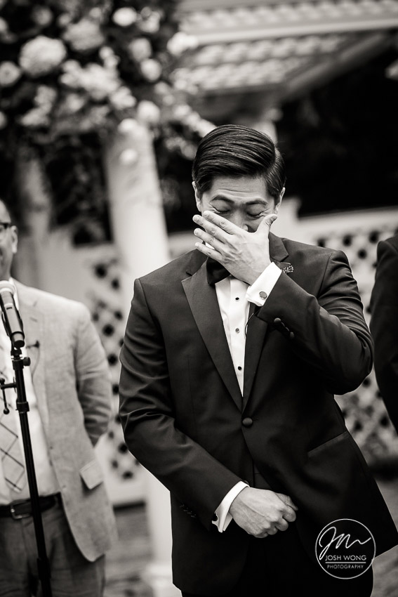 In the moment. The groom tears up with emotion when seeing the bride walking down the aisle. New York Botanical Garden Wedding Pictures by NYC Wedding Photographer Josh Wong Photography
