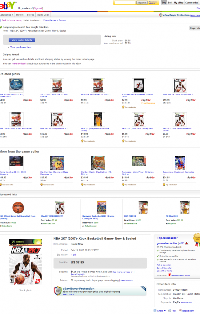 Screenshot of EBay auction page
