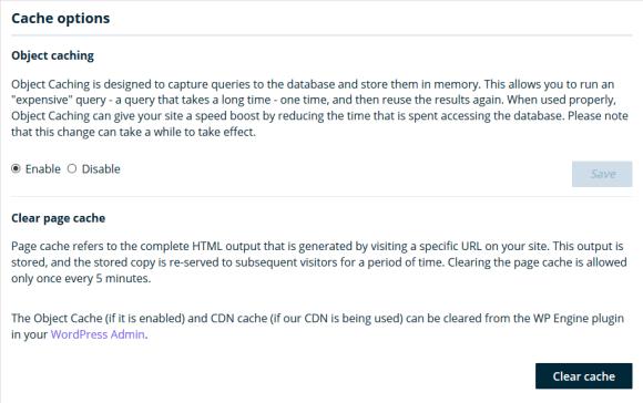 WPEngine Cache Control User Portal