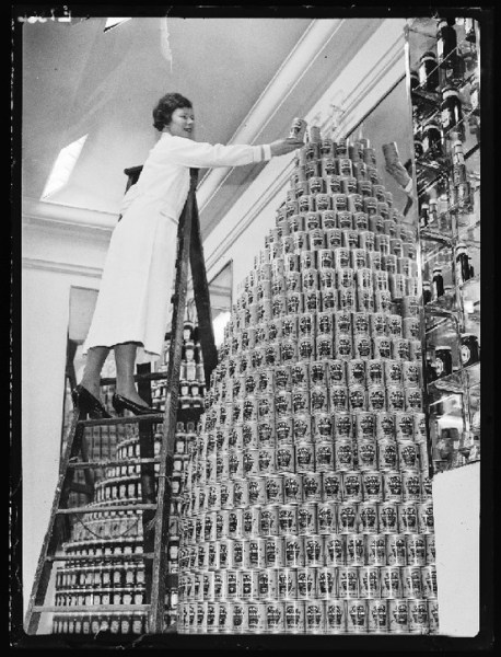 Canstruction old style. Baked beans display at the London Ideal Home Exhibition March 1936