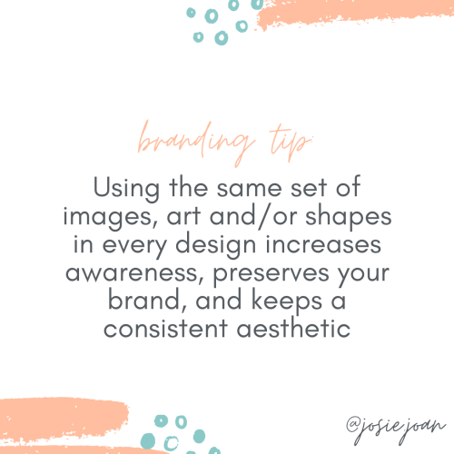Using the same set of images, art and/or shapes in every design increases awareness, preserves your brand, and keeps a consistent aesthetic
