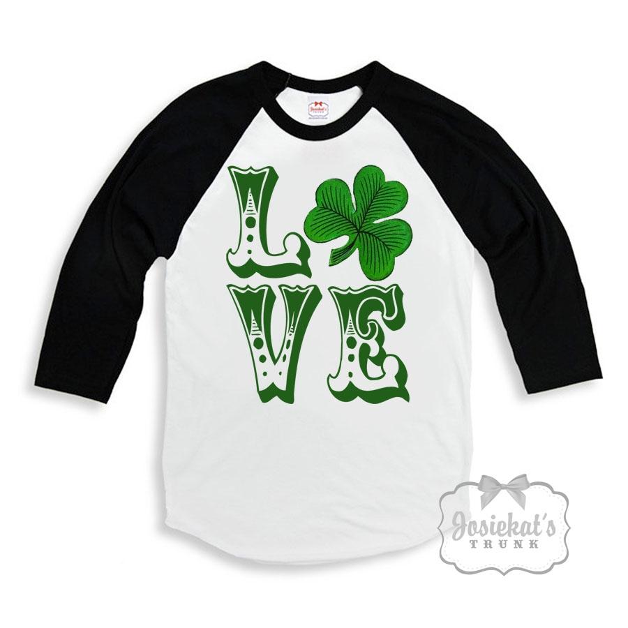 Irish LOVE Retro St Patricks Day Baseball Shirt