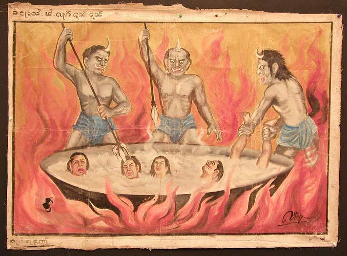 Demonios haciendo una paella con los condenados