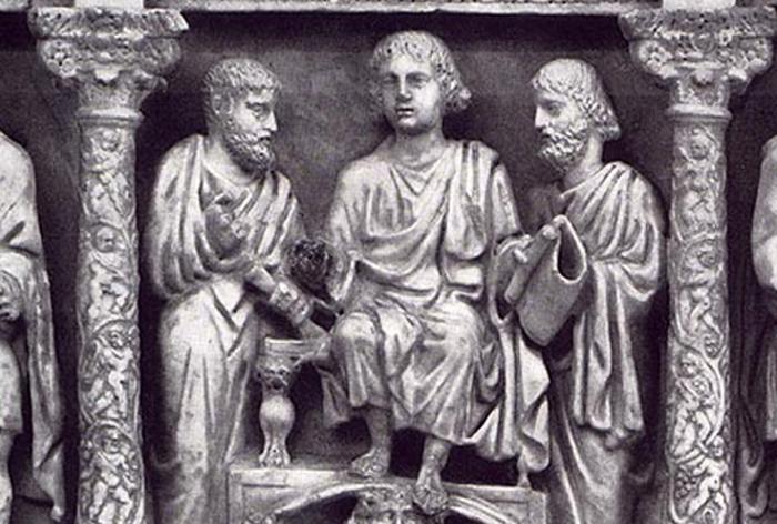 Traditio Legis: Jesús entregando la ley a sus discípulos. Sarcófago del siglo IV.