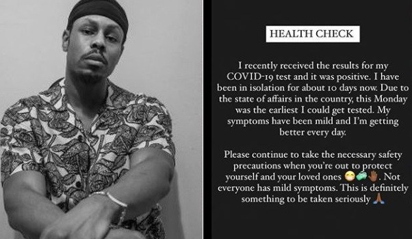 Don Jazzy signed on Rapper, Ladipoe has tested positive for coronavirus.