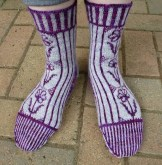 Jo Torr A Rose By Any Other Name colourwork socks