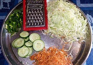 Preparing coleslaw ingredients