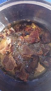 Frying of beef