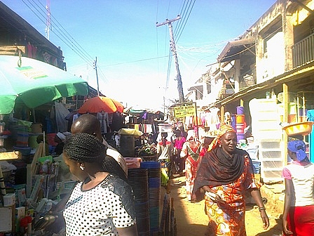 A street for selling of Plastic containers and some food stuff in Terminus Market, Jos