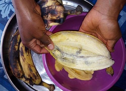 Peeling of plantain