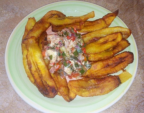 Enjoy your fried plantain chip with egg sauce