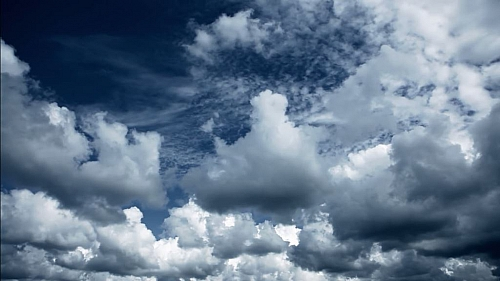 Picture showing cloud cover- a mass of condensed watery vapour floating in the atmosphere that is visible