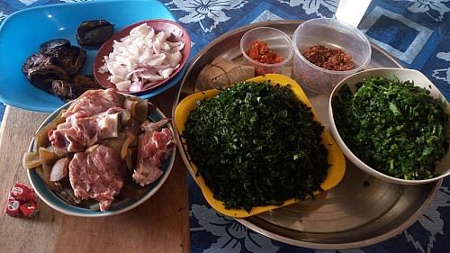 Some ingredients for preparing edikaikong soup