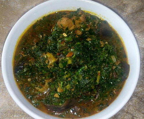 A plate of delicious edikaikong soup