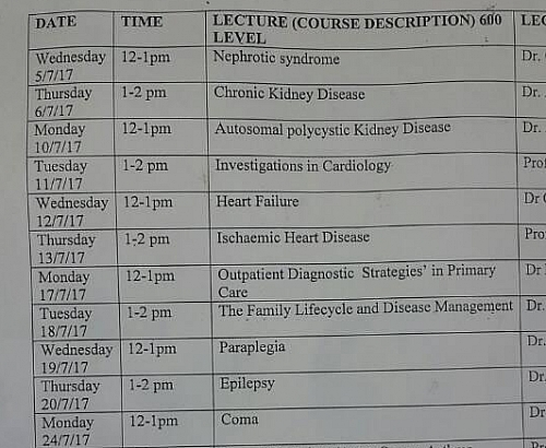 Sample of Course outline for Medicine department in Nigeria