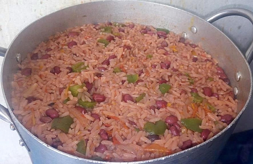 At this point, the liquid has dried completely from the rice and beans
