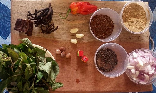 Cow meat pepper soup ingredients