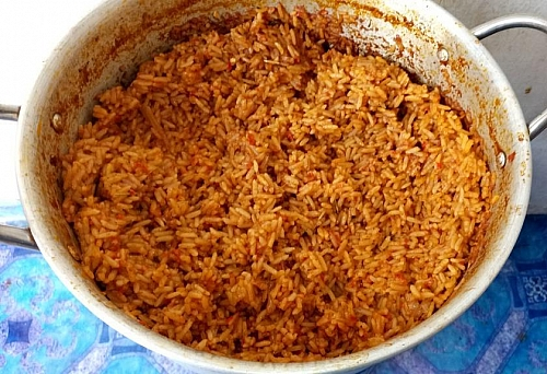 Party jollof rice after it has been scooped