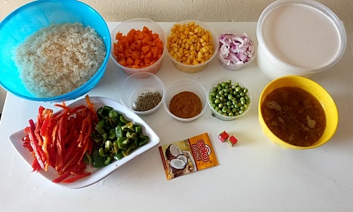 Ingredients for making coconut fried rice