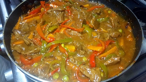Beef sauce is ready once it is nicely thickened