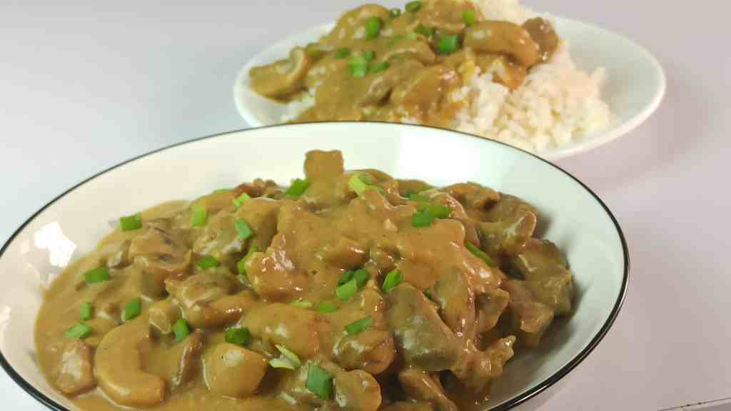 Beef Stroganoff served with cooked white rice