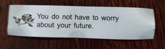 A fortune cookie that reads 'You do not have to worry about your future'