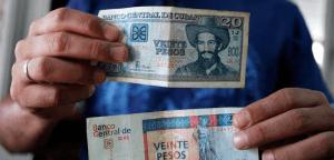 The cuban currencies, cuban convertible peso and cuban peso.