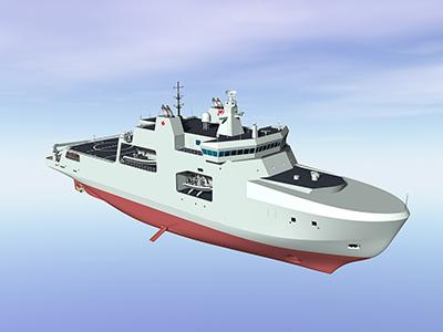 Représentation d'un modèle conceptuel du navire de patrouille extracôtier de l'Arctique.