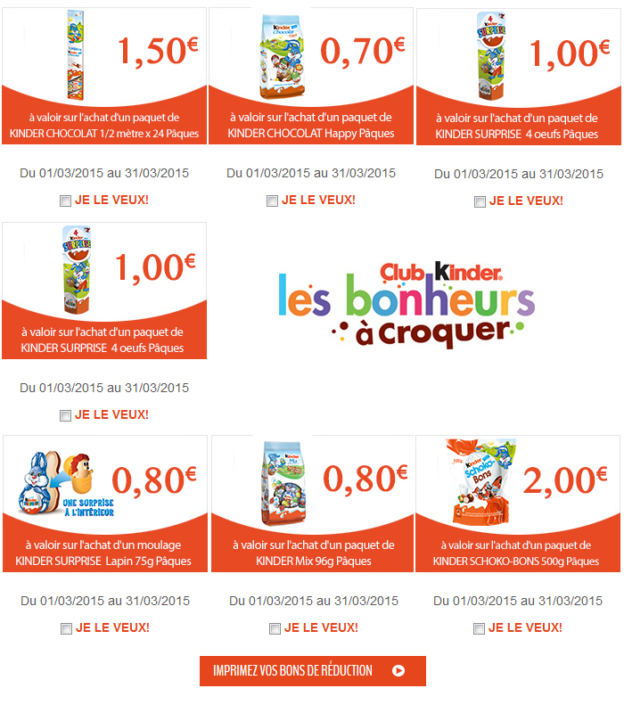 reductions chocolats kinder