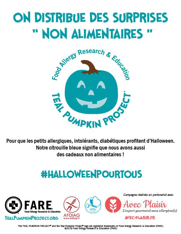 affiche HalloweenPourTous citrouille turquoise