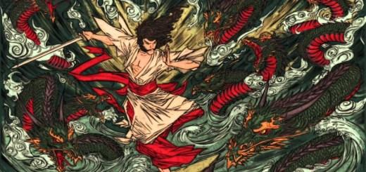 Combat mythique opposant Susanoo à Yamata no Orochi