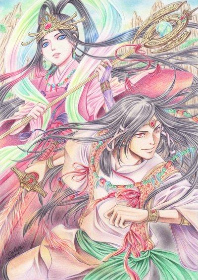 Amaterasu et Susanoo par Calur [Deviant Art]