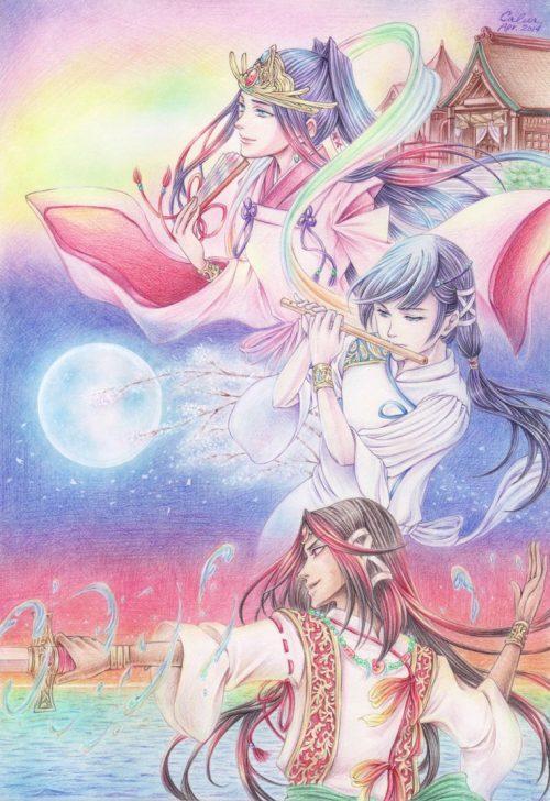 Susanoo, Amaterasu et Tsukuyomi par Calur [Deviant Art]