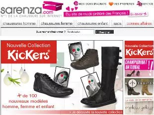 le haut de la page d'accueil de sarenza.com