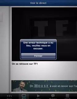exemple d'une erreur de flux vidéo sur l'application tf1