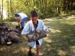 MNAngler, Jr carrying a log