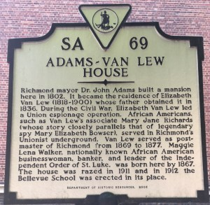 Historical marker with text