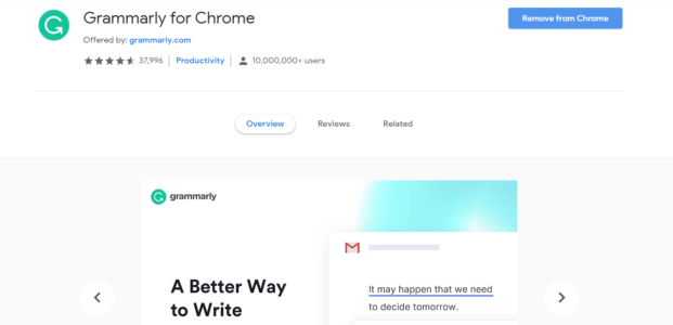 Grammarly awesome chrome extension
