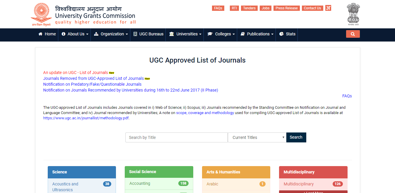 UGC Journals List