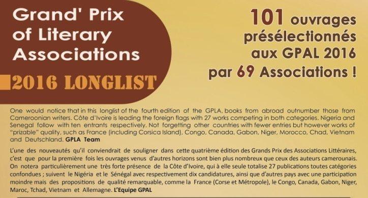 Livres présélectionnés du concours du grand prix des associations littéraire GPAL 2016