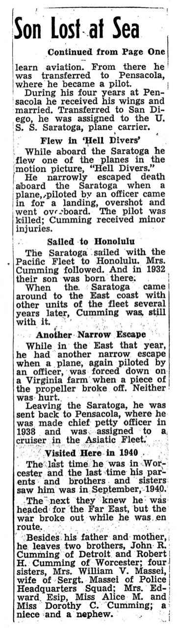 Newspaper clipping about the USS Houston