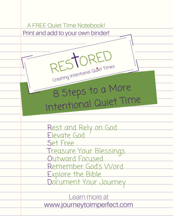 Create a more intentional quiet time by following any of these steps. For more information on these practical steps and for a FREE printable quiet time notebook click to go to www.journeytoimpe... where you will find free resources for your prayer life!