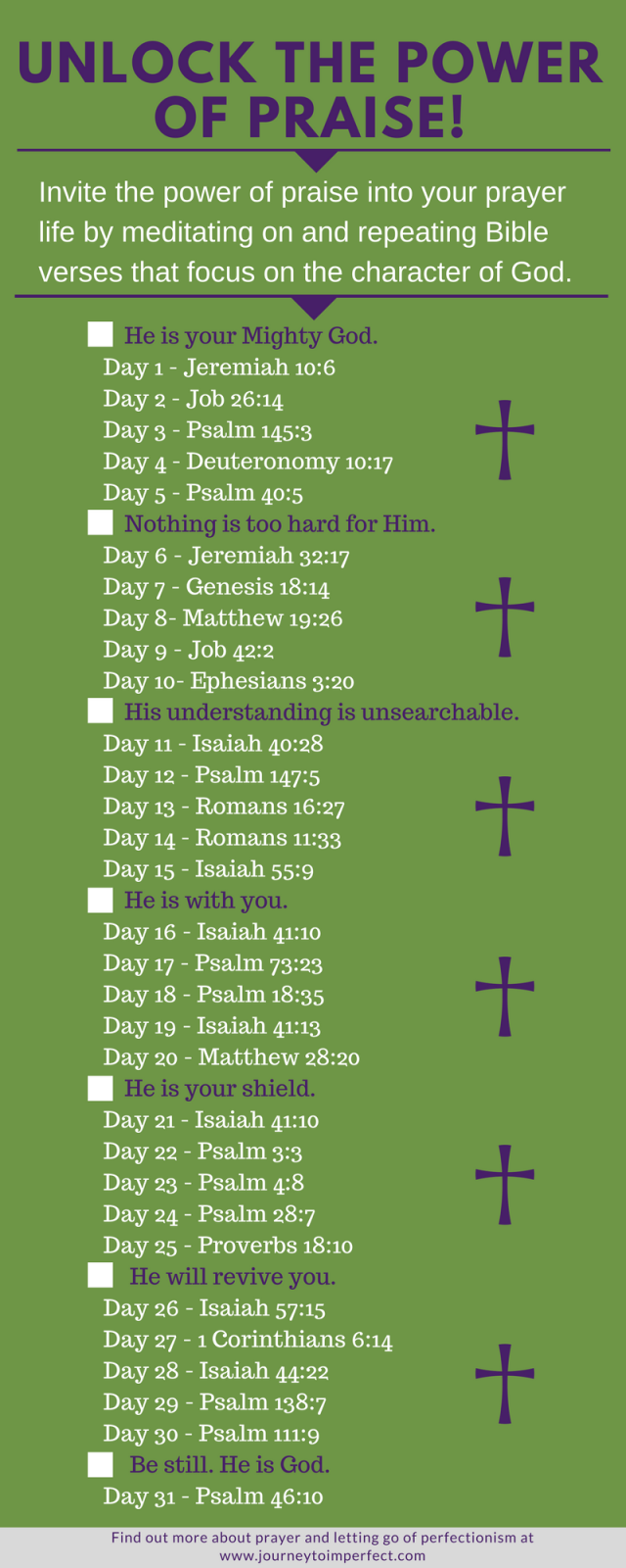 Have you ever felt like something was missing from your prayer life? It could be praise and worship. Unlock the power of praise in your prayer life with these 31 verses!  One verse a day is all it takes!  {Click for more FREE PRINTABLES!}